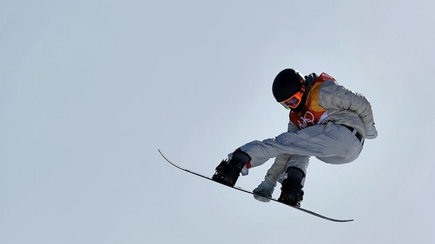 Red Gerard, of the United States, jumps during the men's slopestyle final at Phoenix Snow Park at the 2018 Winter Olympics in Pyeongchang, South Korea, Sunday, Feb. 11, 2018. (AP Photo/Gregory Bull)
