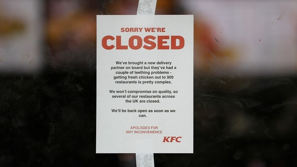 kfc shortage notice reuters