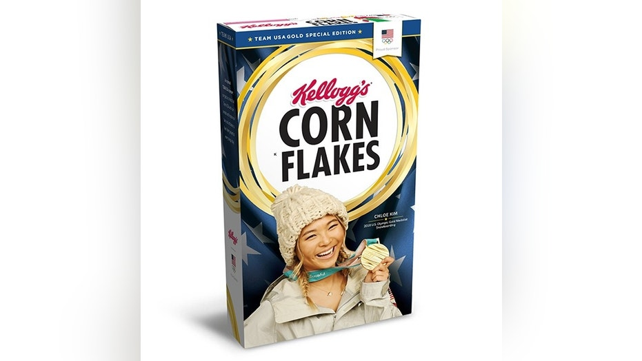 Gold-medalist Chloe Kim graces Kellogg's Team USA Special Gold Edition Box.