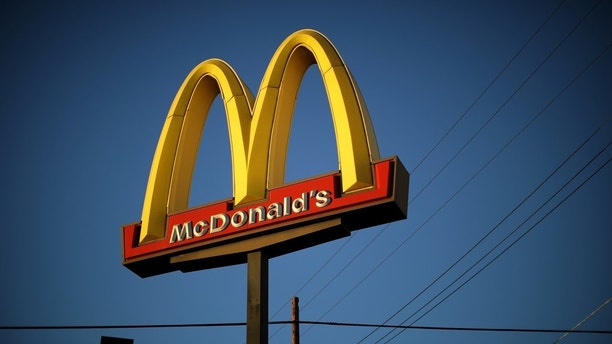 The logo of a McDonald's Corp <MCD.N> restaurant is seen in Los Angeles, California, U.S. October 24, 2017. REUTERS/Lucy Nicholson - RC13B6D4C530