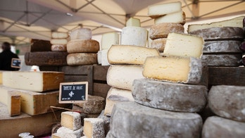 A selection of French Cheese in the market, Paris, France