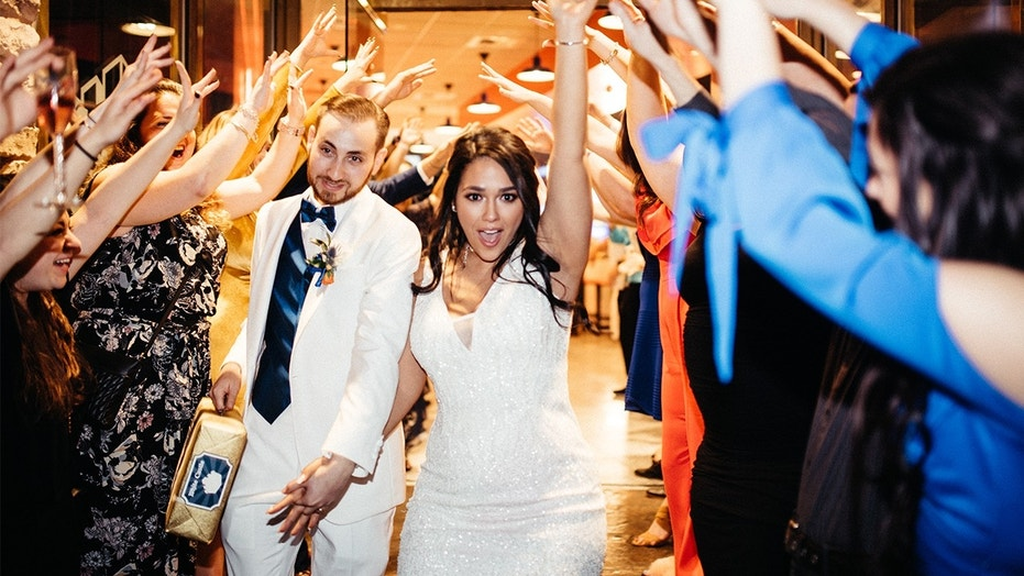 Adam Mandel and Whitney Wicker of Fort Worth, Texas were the first couple to get married at White Castle in Las Vegas.