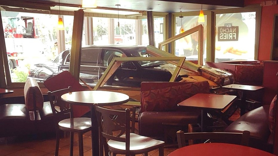 A driver in California smashed through the front of a Taco Bell.