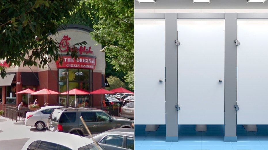 A Chick-fil-A employee in Lynchburg, Virginia recorded the funny footage of little Levi Stevens crawling under a bathroom stall.