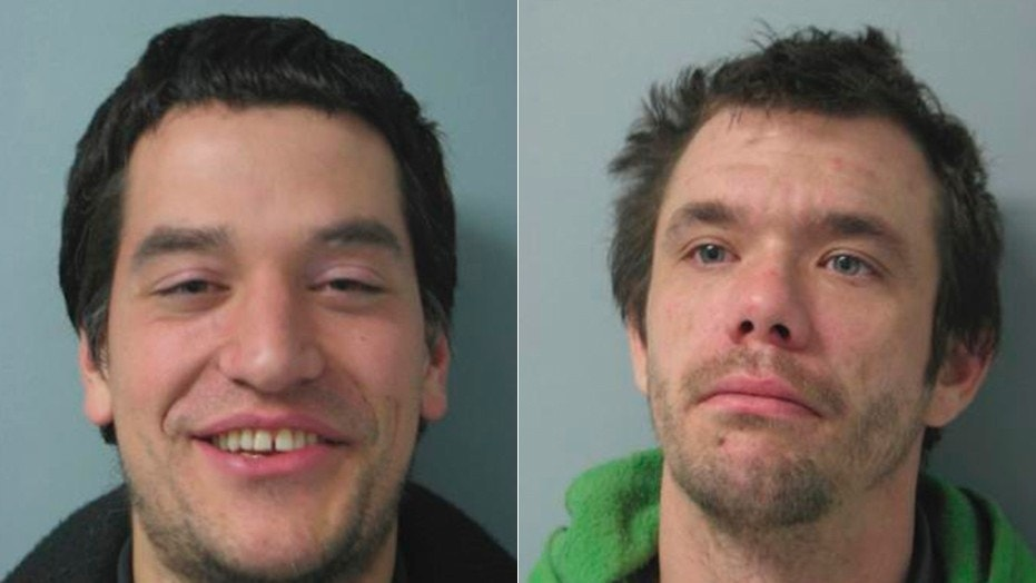 Michael Gonzalez (left) and William Russell (right) were arrested on active warrants after Gonzalez mistook a police car for pizza delivery.