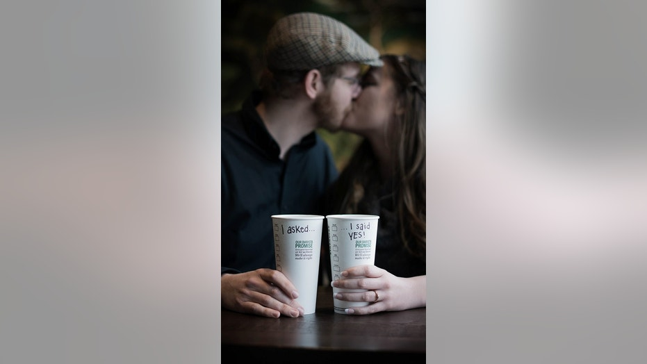 """This Starbucks is special to us because it changed our lives,"" bride-to-be Emily McMahan said."