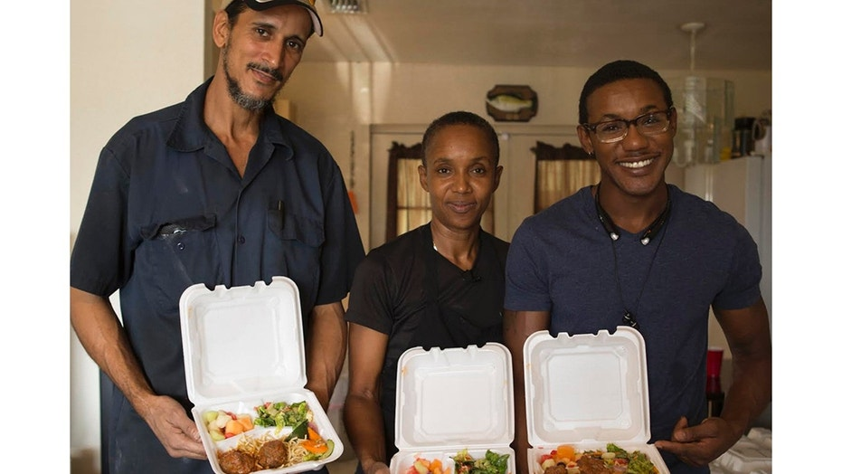 Gloria and her husband Anthony and son Ivin work together to serve up meals to the homeless on the weekends in her Florida community.