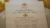 A menu for the State Dinner for French President Emmanuel Macron is shown in the State Dining Room of the White House in Washington, U.S., April 23, 2018. REUTERS/Joshua Roberts - RC1DBE573E80