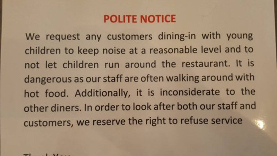 A family dining out at a Nepalese restaurant with their 7-year-old was upset after restaurant staff handed them this notice.