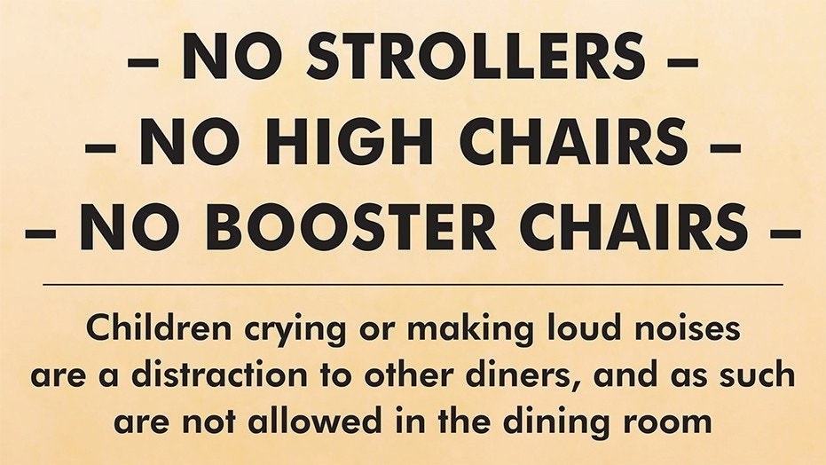 The restaurant posted a sign outside the establishment to ensure it maintains a quiet atmosphere.