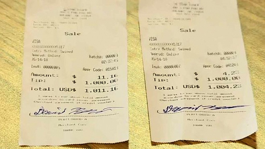 A truck driver passing through Oklahoma left his waitress two $1,000 tips.