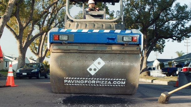 Domino's Paving for Pizza Truck