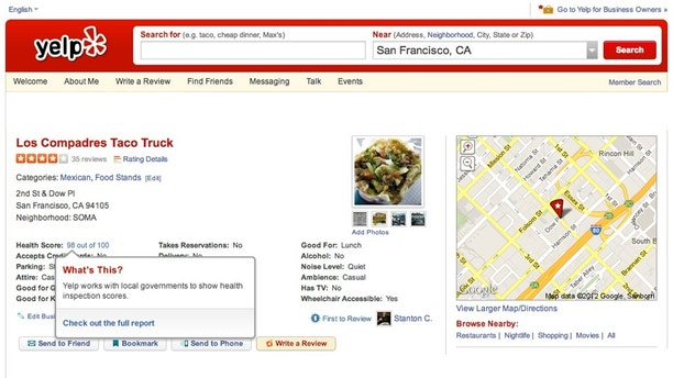 Restaurant inspection scores now on Yelp