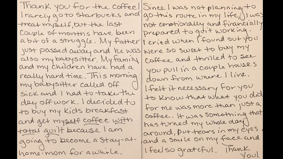 Last week, Mackenzie Mauller received a note from a woman after she bought her a cup of coffee.