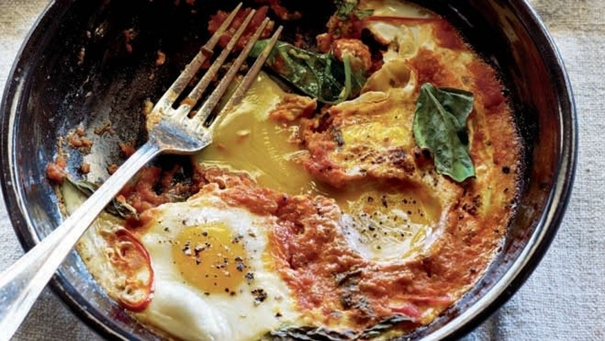 Spicy Italian style eggs for breakfast.