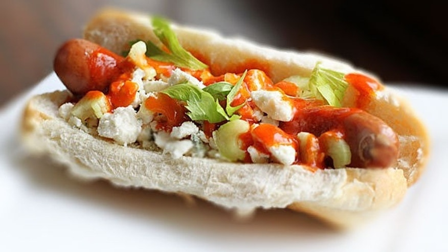 Use chicken sausage for this buffalo dog.