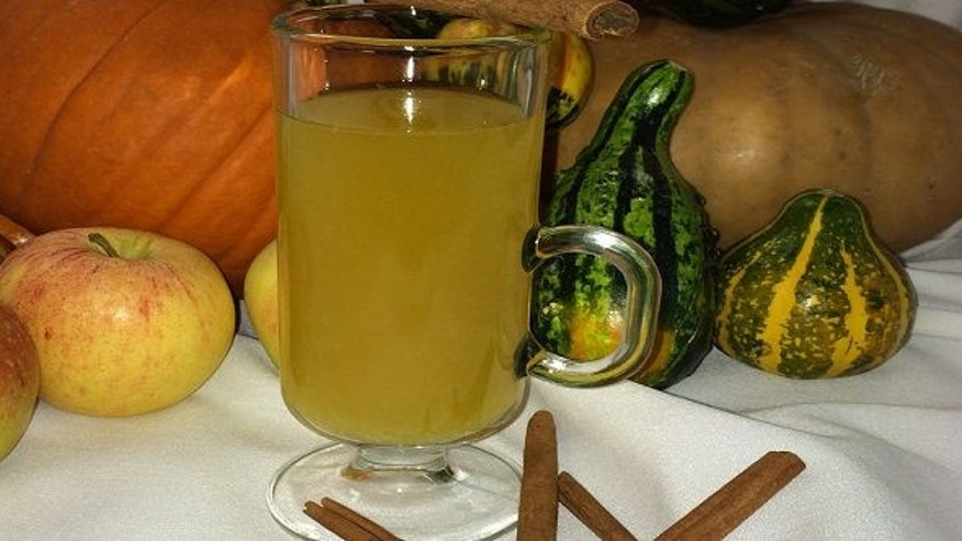 Chef Brust juices the pumpkin and the ginger into the cider to kick up the flavors.