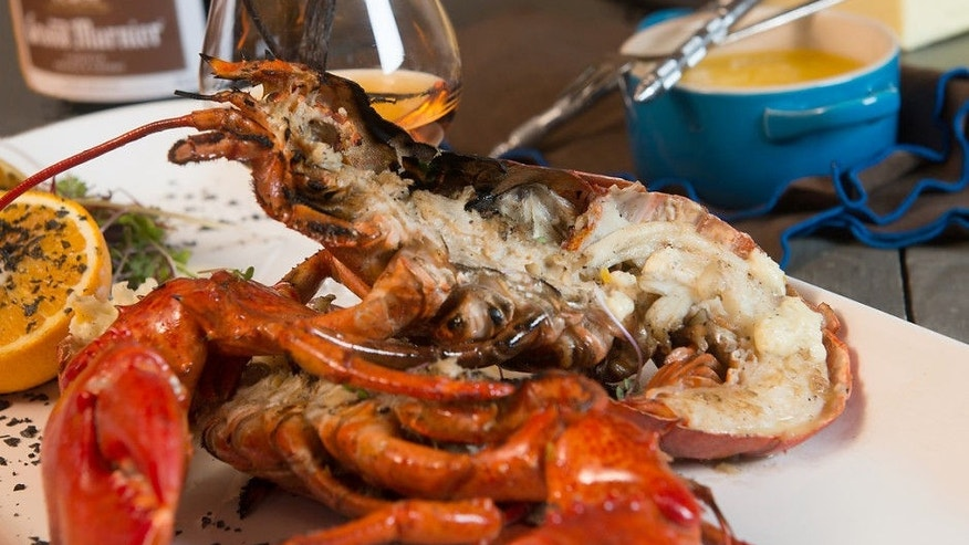Grilled split maine lobster with grand marnier and vanilla for Best time to visit maine for lobster
