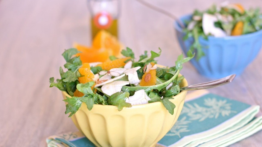 Arugula has a slight pepper flavor and is an excellent source of Vitamin A, K, and C.