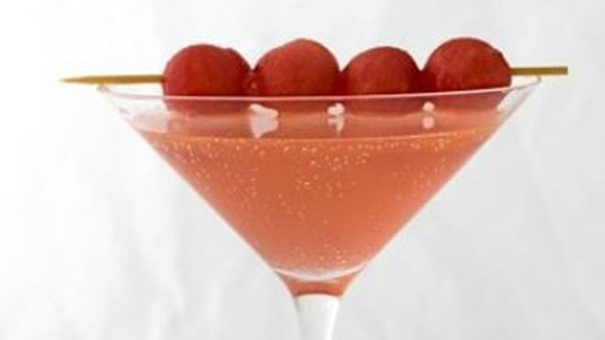 The watermelon balls are a perfect summer touch to this cocktail