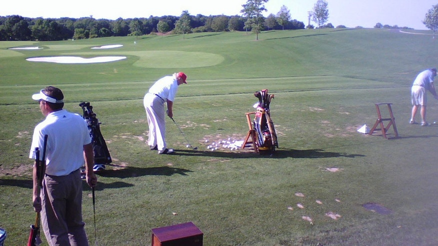 A caddy at the Trump National Golf Club originally received the clubs as a gift from Donald Trump.