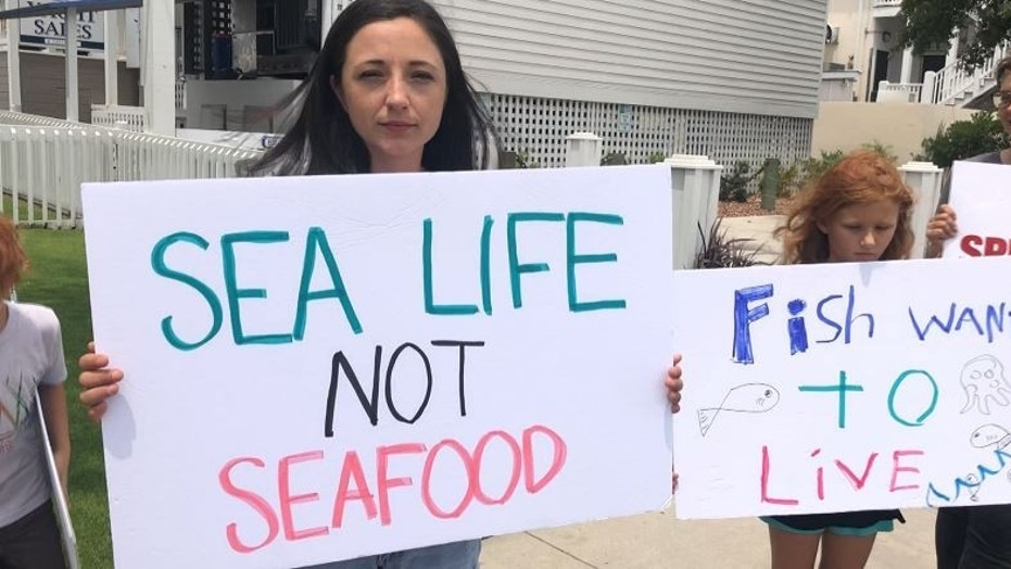 The Wilmington Fish Save and North Carolina Farmed Animal Save organized the protest, called Vigil for Fish.