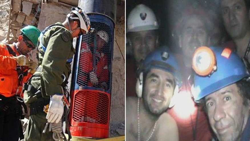 In this image on the left, released by the government of Chile, rescue workers stand next to a colleague who is inside a capsule after performing a dry run test for the eventual rescue of the 33 miners trapped at the San Jose mine, near Copiapo, Chile, Monday, Oct. 11, 2010.