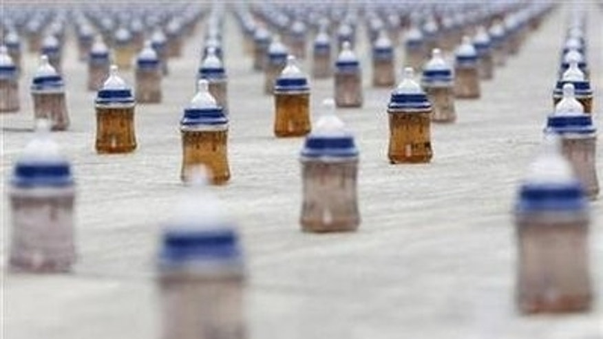 A installation of 4000 baby bottle are placed on the Swiss federal square to mark World Water Day, during a action of by relief organisation Helvetas in Bern March 22, 2010. REUTERS/Pascal Lauener