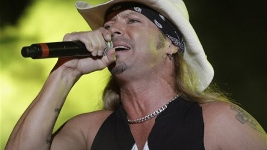 Bret Michaels performs during a concert after a baseball game between the Seattle Mariners and the Tampa Bay Rays, Saturday, Sept. 25, 2010, in St. Petersburg, Fla. The Rays defeated the Mariners 9-1 (AP Photo/Terry Renna)