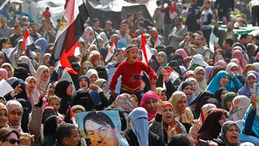 A child is carried near a poster depicting Egypt's President Hosni Mubarak as Adolf Hitler, amid opposition supporters in Tahrir Square in Cairo February 8, 2011. Thousands of protesters including first-timers gathered in Cairo's Tahrir Square from early on Tuesday and numbers built quickly as demonstrations meant to force out Mubarak entered their third week.