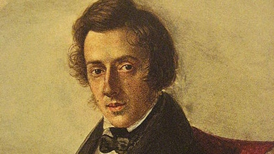 This is an 1835 watercolor portrait of Polish composer Frederic Chopin, painted by then-16-year-old Maria Wodzinska (1819-96).