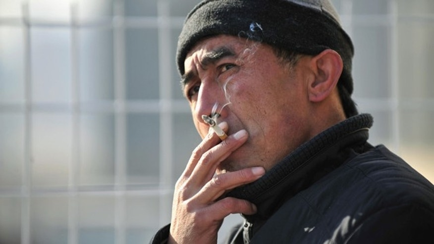A man smokes a cigarette on a street in Shenyang, Liaoning province, January 7, 2011. China's tobacco industry is foiling efforts to control smoking and Chinese leaders must give stronger support to measures to control tobacco use, an international panel of experts said in a report on Thursday.