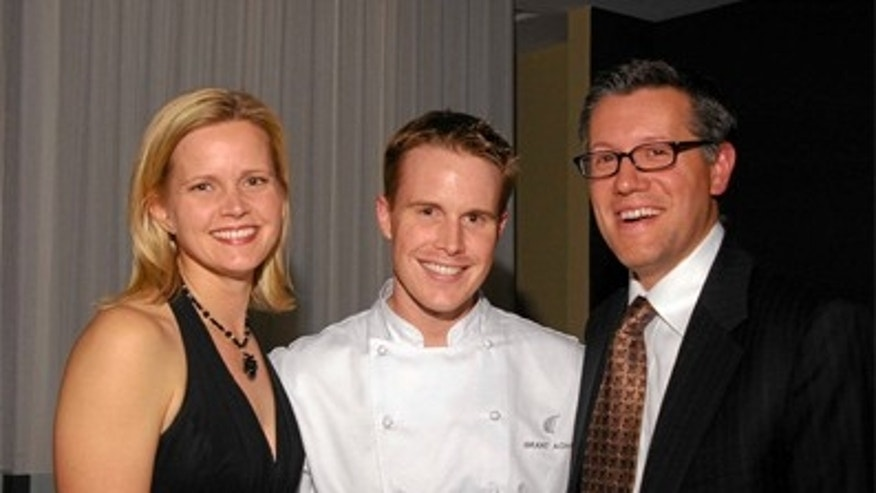 Grant Achatz with business partner Nick Kokonas and Nick's wife, Dagmara.
