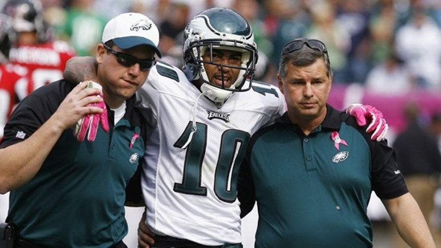Oct. 17: Philadelphia Eagles' DeSean Jackson is helped from the field after sustaining an injury against the Atlanta Falcons during second quarter of NFL football action in Philadelphia. He was later diagnosed with a concussion.