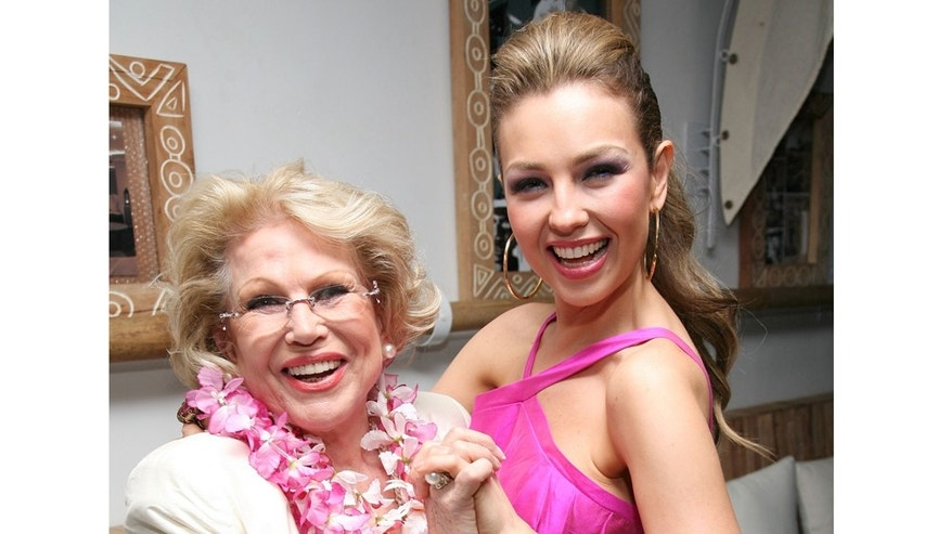 "NEW YORK - JUNE 17:  (R) Thalia and (L) her mother Yolanda Miranda attends the celebration to the release of her new album ""Lunada"" on June 17, 2008 at Nikki Midtown in New York.  (Photo by Astrid Stawiarz/Getty Images)"