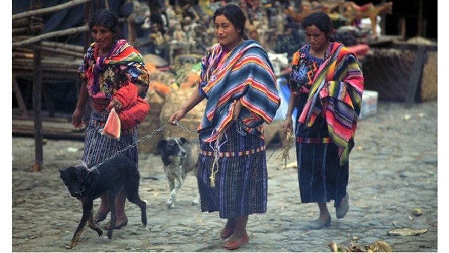 File Photo: Maya Women Wearing Their Everyday Traditional Clothing, Accompanied By Their Dogs, Walk Through The Market Of Chichicastenango In The Western Highlands Of Guatemala. Each Region Has A Distinct Style Of Dress.  (Photo By David Mcnew/Getty Images)