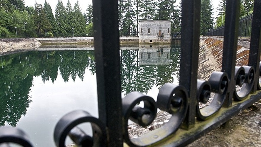 June 20: This spot at the Mt Tabor number 1 reservoir is where a 21-year-old man was seen on surveillance video urinating into the reservoir in Portland, Ore.