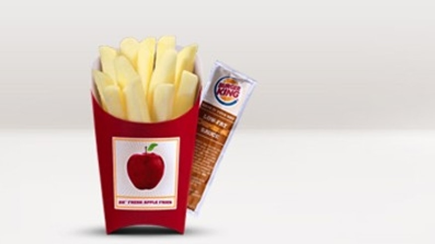 BK® Fresh Apple Fries are fresh apples cut to look like French Fries. These fresh, not fried, slices of whole apple are served with low-fat caramel dipping sauce for a total of 70 calories.