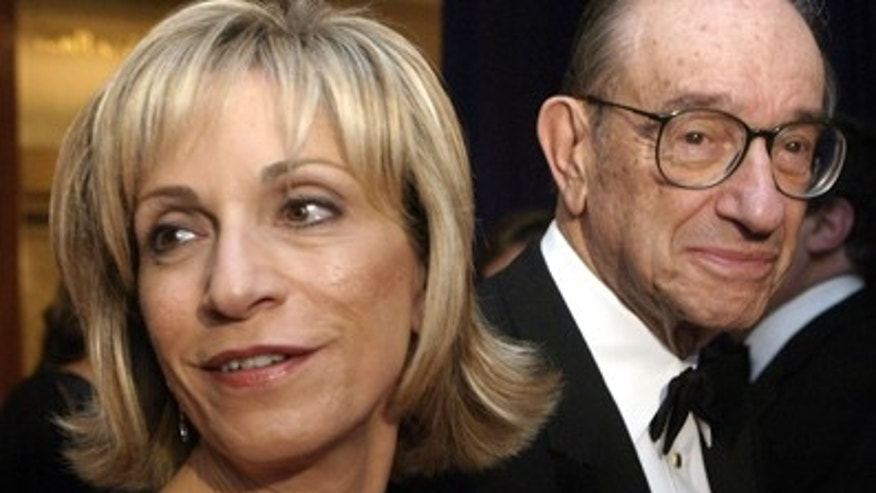 Alan Greenspan and Andrea Mitchell arrive at White House Correspondents dinner in Washington, DC in 2005.