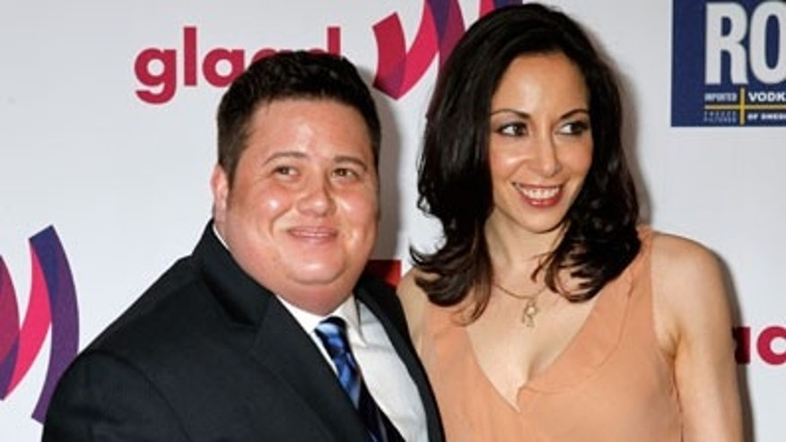 April 11, 2011: Chaz Bono and girlfriend Jennifer Elia arrive at the 22nd annual GLADD Media Awards in Los Angeles.