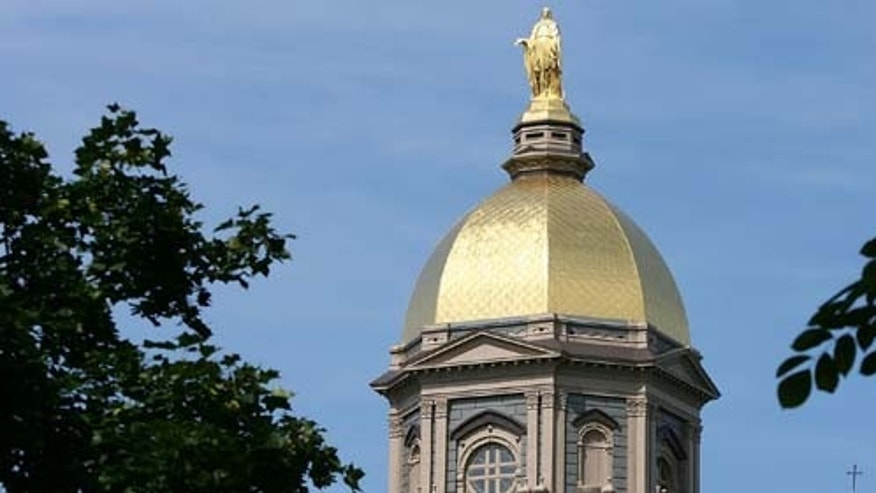 "SOUTH BEND, IN - SEPTEMBER 2009: 19: A general view of the ""Golden Dome"" on the campus of Notre Dame University. A group of Catholic universities, including Notre Dame, criticized HHS for portions of the healthcare law. (Photo by Jonathan Daniel/Getty Images)"