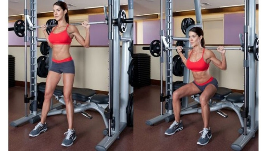 Squat: When using the Smith machine keep in mind that the closer the feet are to the body, the more that the quadriceps gets the work while the farther they are, the more that the gluteus and hamstrings work.