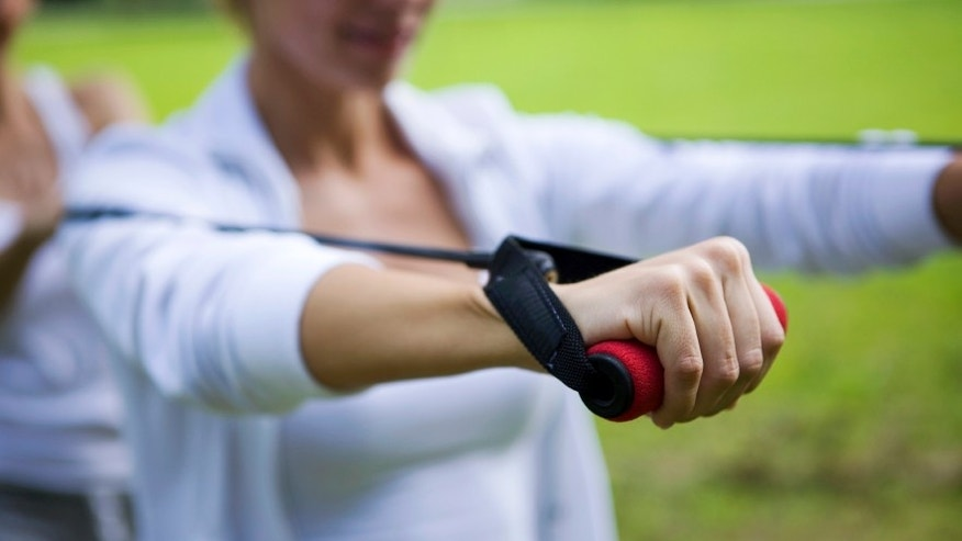 Exercising with resistance band, Canon 1Ds mark III