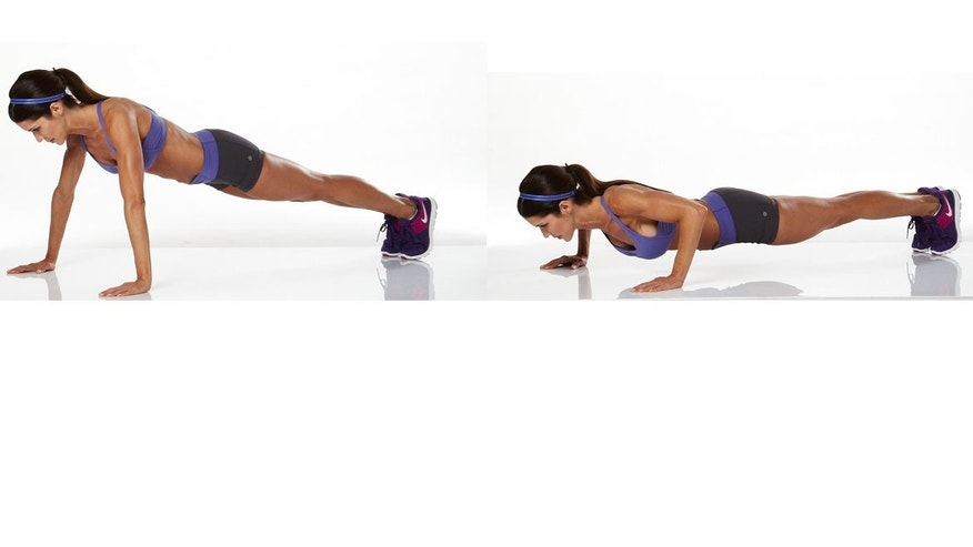 Push-up: If you can't perform a push-up with a perfect posture, do a modified push-up with the knees on the ground. When performing the push up, keep the back straight, hips tight, shoulders down. Flex the arms to 90-degree angle. Push your whole body up while keeping the body steady. It helps to imagine pushing through the floor.