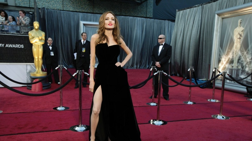 Actress Angelina Jolie poses at the 84th Academy Awards in Hollywood, Calif., February 26, 2012.