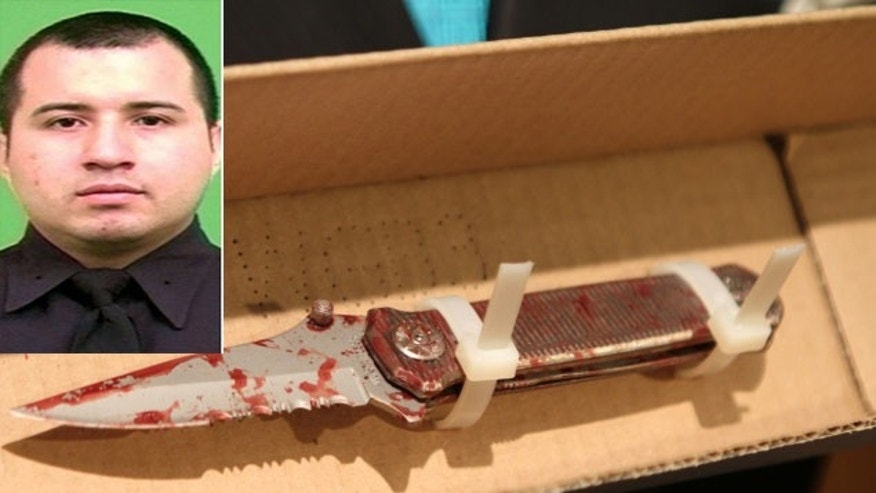 Photo credit: Handout/Nancy Borowick | An NYPD handout photo of Officer Eder Loor, and right, the 3 1/2 inch knife used by assailant Terrence Hale on the injured officer in Manhattan. (April 17, 2012)