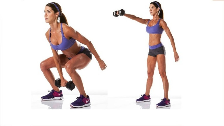 DB Swing: With the dumbbell resting in between your legs with knees slightly bent, thrust your hips forward to propel the weight to about chest level. Don't use your arms to lift the weight. Let it drop back down in between your legs loosely as if you are hiking a football and repeat the upwards thrust using a powerful hip snap forward. Switch sides.
