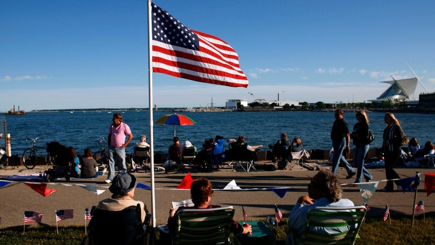 MILWAUKEE - JULY 3:  People gather in downtown Milwaukee along the lake front of Lake Michigan, as the city celebrates Independence day with fireworks on July 3, 2008 Milwaukee. The city traditionally has the fireworks on the 3rd as so it does not compete with the local surrounding communities 4th of July celebrations. (Photo by Darren Hauck/Getty Images)