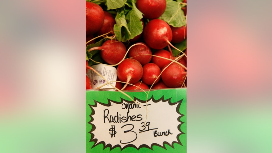 Organic radishes at the Pacifica Farmers Market in Pacifica, Calif.