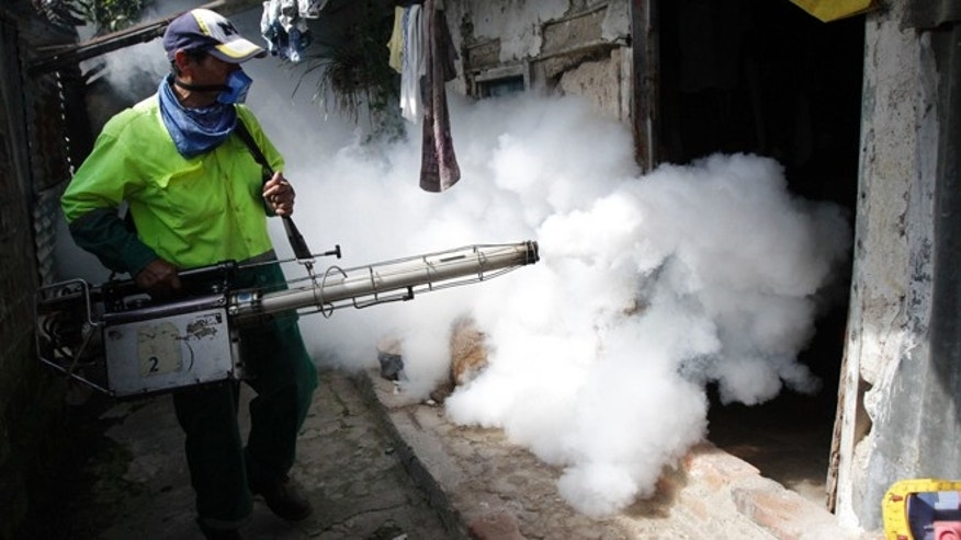 Employees of the Municipality of San Salvador, fumigate houses in the northern area of the capital city, to eliiminate the Aedes Egypt mosquito, transmitters of the dengue disease in San Salvador , El Salvador , Friday ,Aug. 17,2012. According to health minister Maria Isabel Rodriguez the ministry is considering to declare national emergency due to the increase of Dengue cases with 2.301 people currently  hospitalized.(AP Photo/Luis Romero)